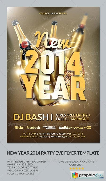 New Year's Eve 2014 Party Flyer Template 6198036