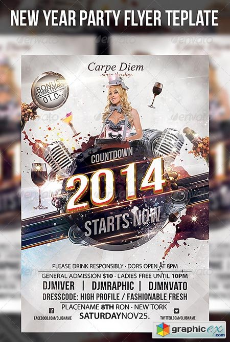 New Year Party Flyer Template 6254523