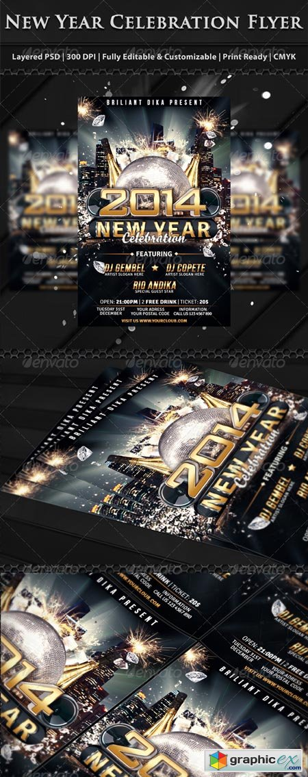 New Year Party Celebration Flyer Template 6272335 Free Download