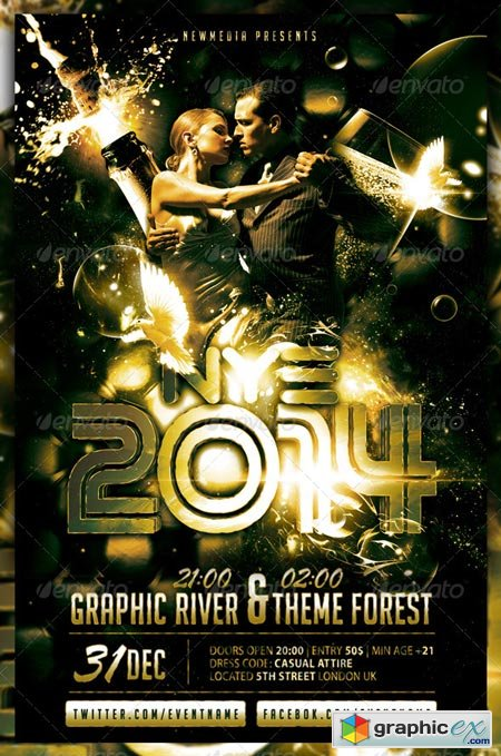 Champagne New Year Eve Party Flyer Poster 6254852