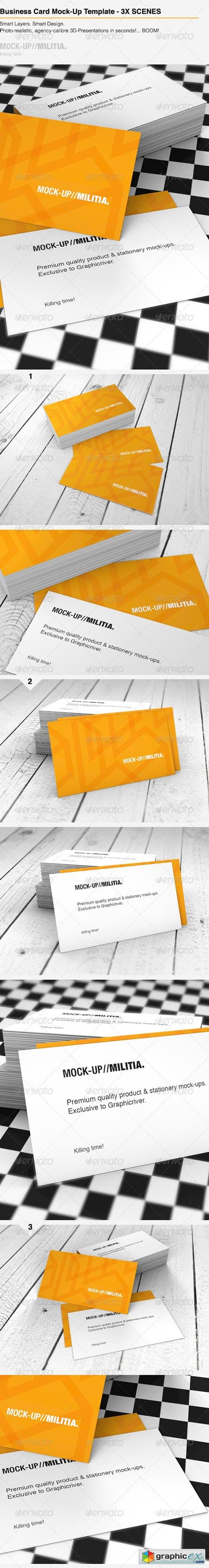 Business Card Mock-Up Template With Various Scenes 6330528