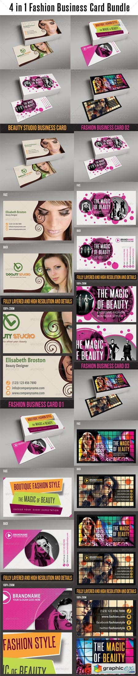 4 in 1 Fashion Business Card Bundle