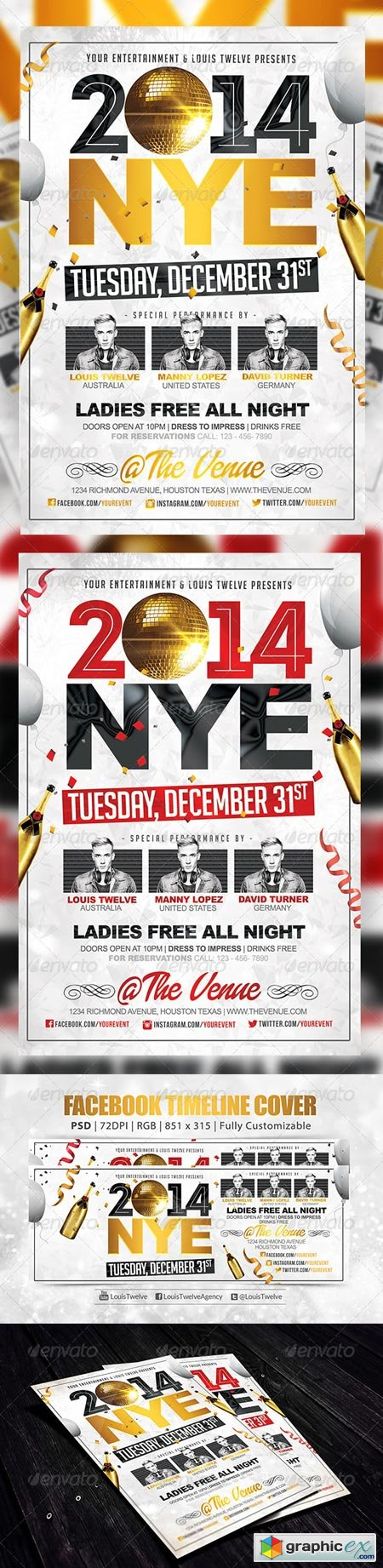 NYE Party 2 Flyer + FB Cover 6160748