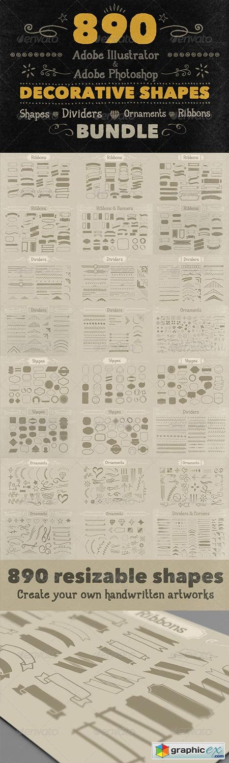 890 Handwritten Shapes - Bundle 6058111