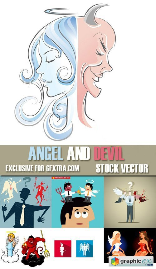 Stock Vectors - Angel and devil, 25xEps