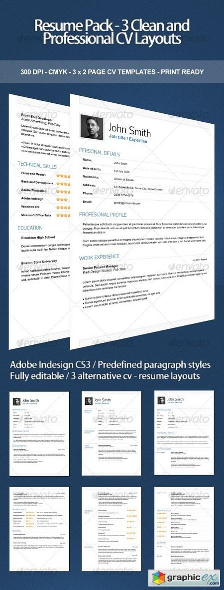 Resume Pack - 3 Clean and Professional CV Layouts