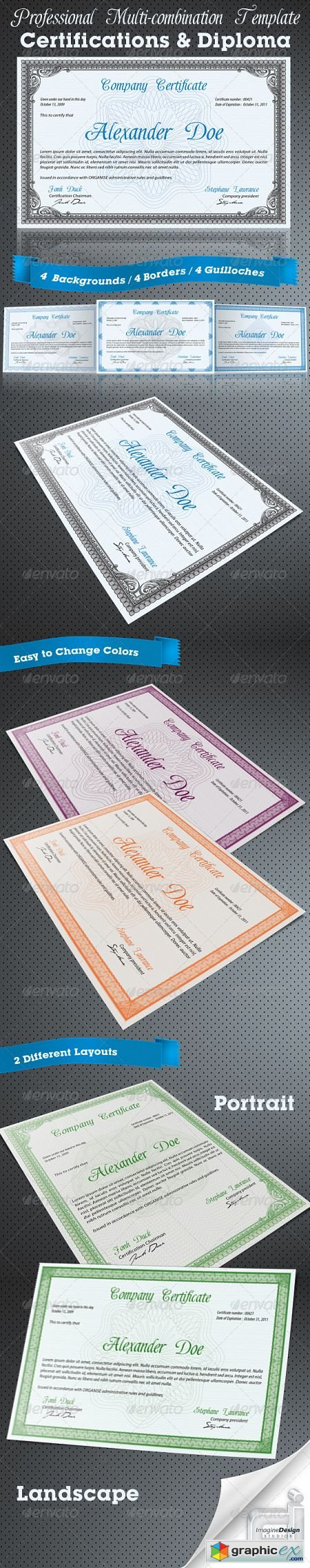 Professional Certificate or Diploma Templates