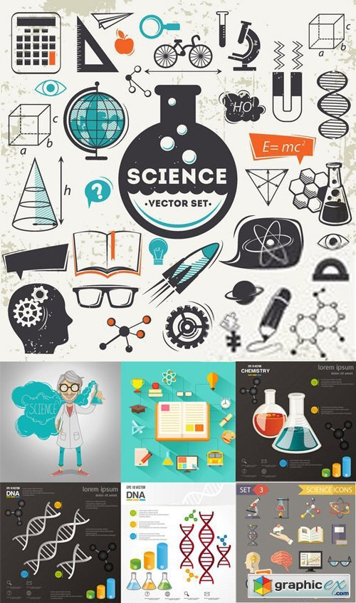 Stock Vectors - Science, Medicine, Chemistry, Dna, Physics, 25xEps