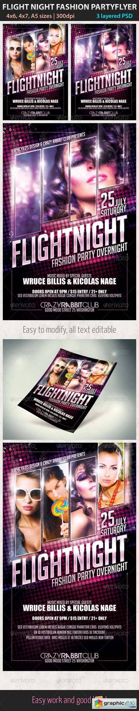 Flight Night Fashion Party Flyer Template