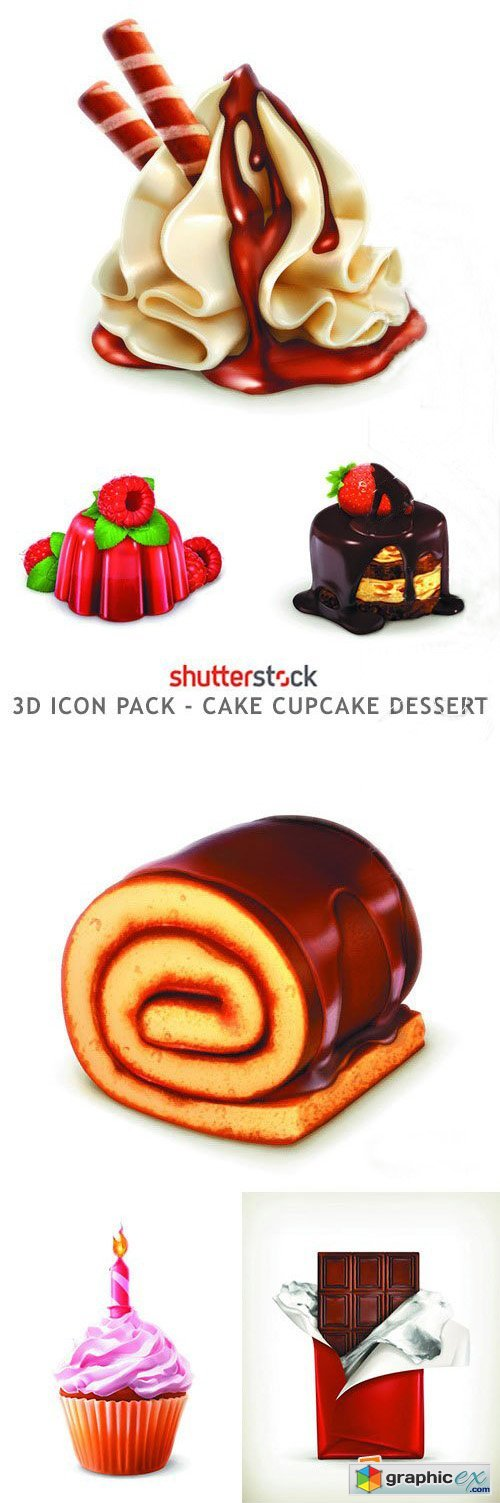 3d Icon Pack - Cake Cupcake Dessert - 25xEPS