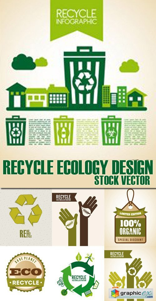 Stock Vectors - Recycle ecology design, 25xEps