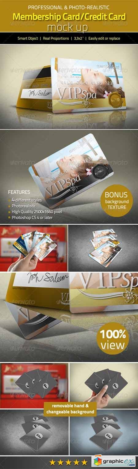 Photorealistic Membership Card/Credit Card Mock Up 3088198