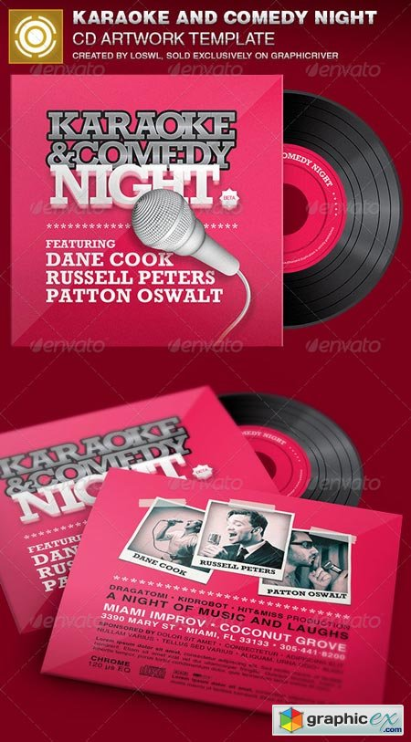 Karaoke and Comedy Night CD Artwork Template 6962410