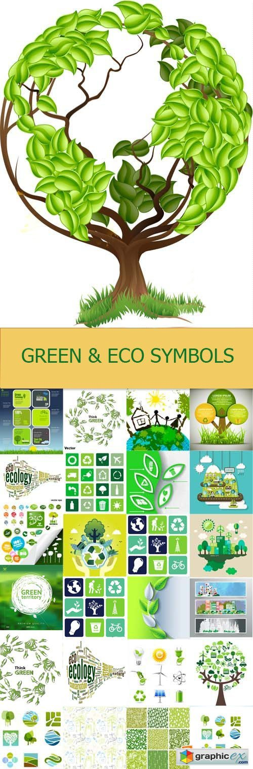 Green and eco symbols, 25xEPS