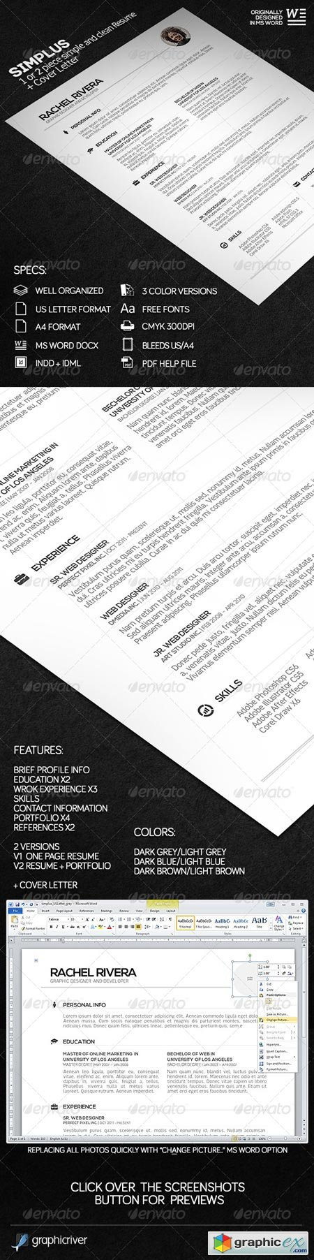 SIMPLUS - 1 or 2 Piece Simple and Clean Resume 7238629
