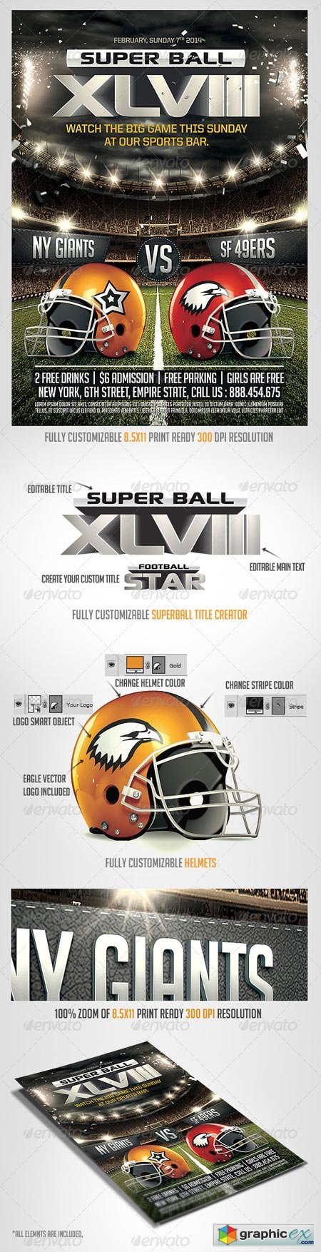 Super Ball Football Flyer Template 6622814 Free Download Vector