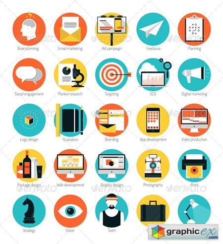 Marketing and Design Services Flat Icons Set 7155625