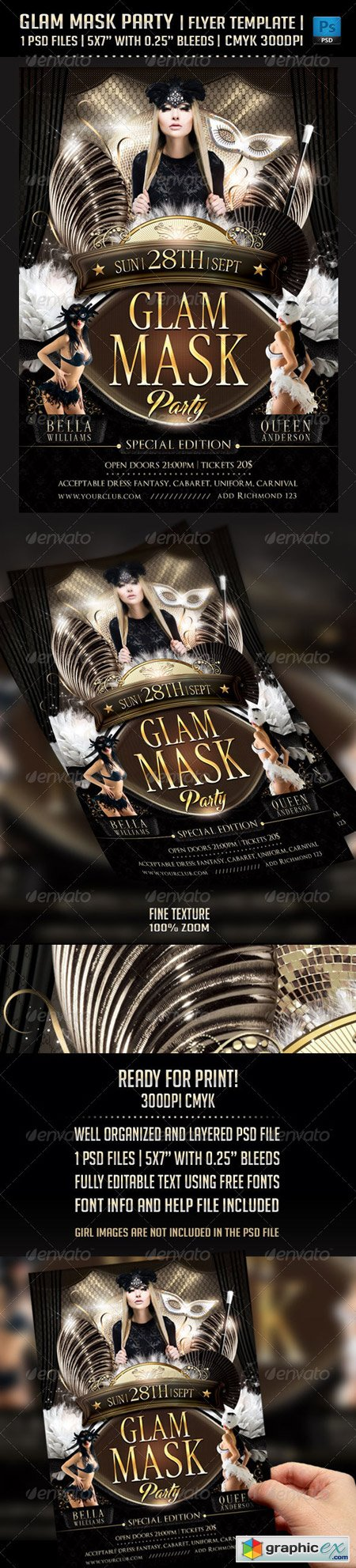 Glam Mask Party Flyer Template