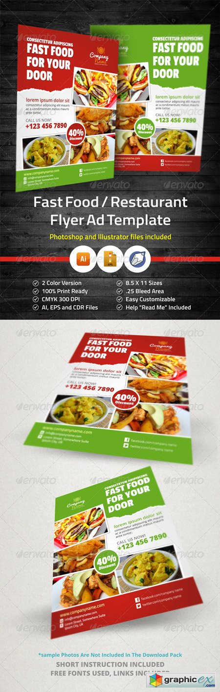 Fast Food Restaurant Flyer Ad Template