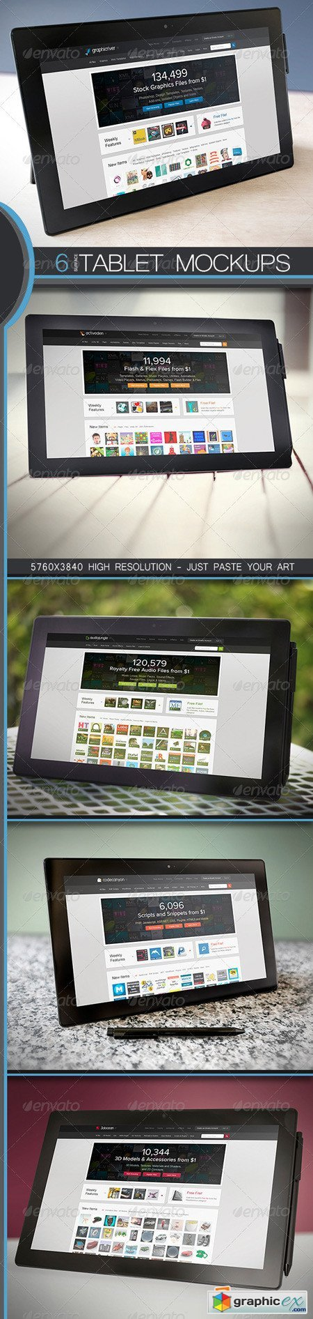 6 Surface Pro Tablet PC Mock-Ups