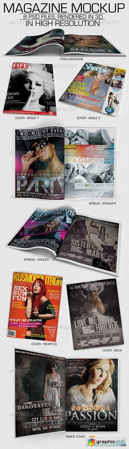 Magazine Mockup with 8 3D Rendered PSD Files