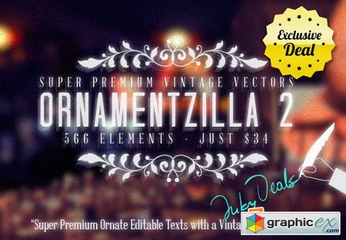 OrnamentZilla 2 566 Super Premium Vintage Vector Elements with Editable Text