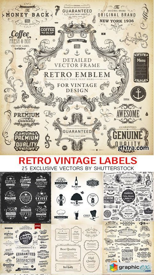 Amazing SS - Retro Vintage labels 2, 25xEPS