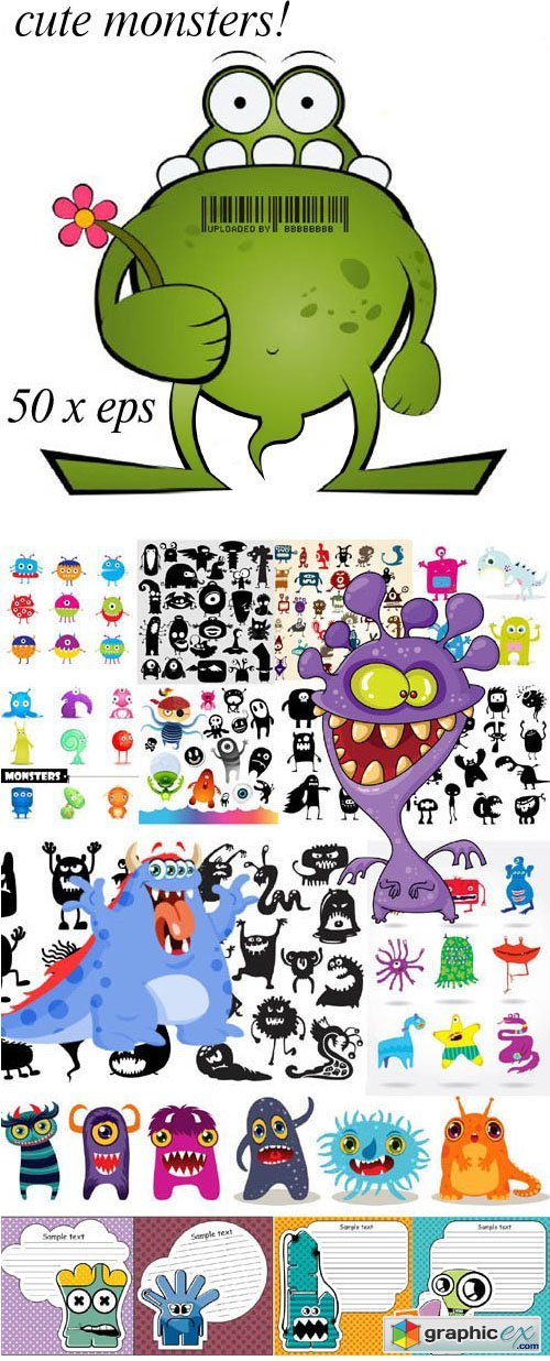 Amazing Cute Monsters Bundle 50xEPS