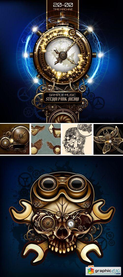 Steampunk Bundle of Vectors, Images and Videos!