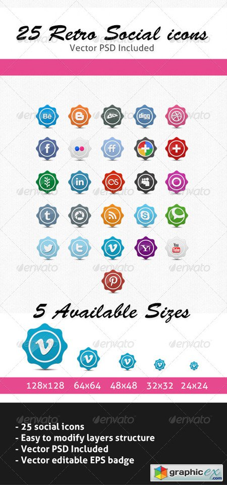 25 Retro Social Icons Badge Label Pack Template