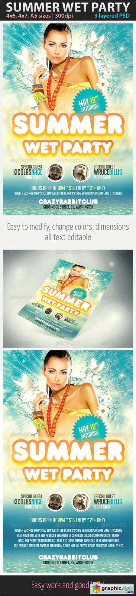 Summer Wet Party Flyer Template Photoshop