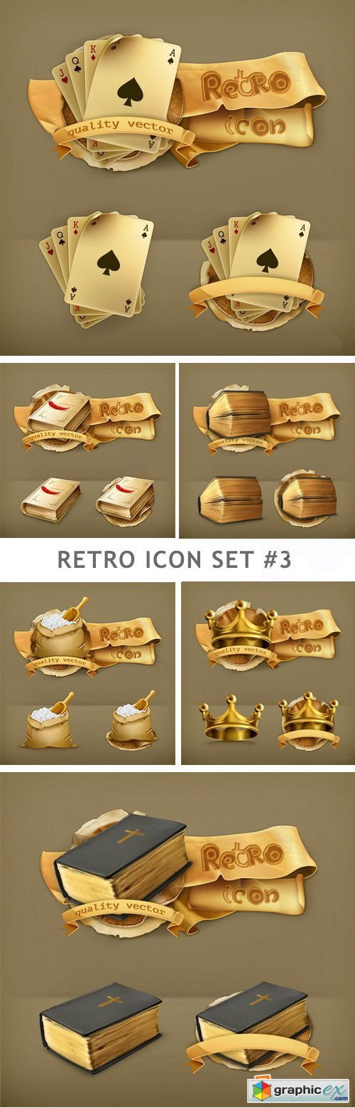 Retro Icon Set 3 - 25xEPS
