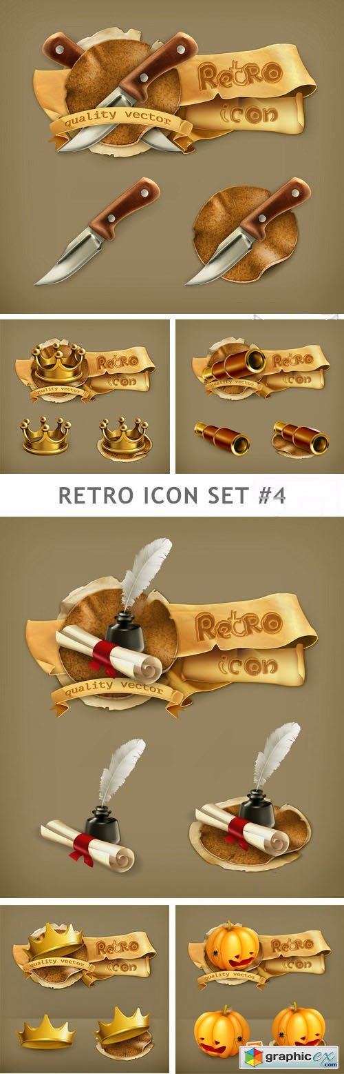 Retro Icon Set 4 - 25xEPS