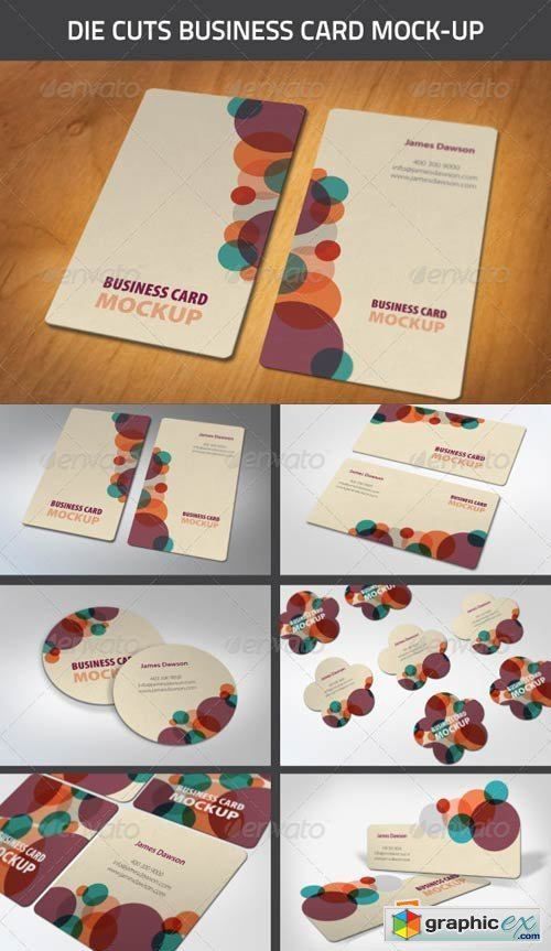 Die-Cut Business Card Mock-Ups 4483191