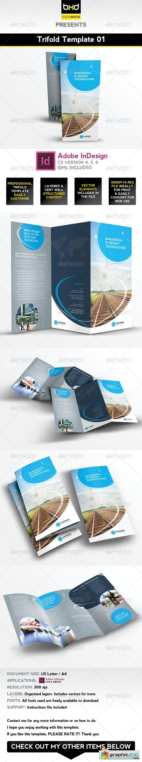 Trifold Brochure Template 01 - InDesign Layout 4476765