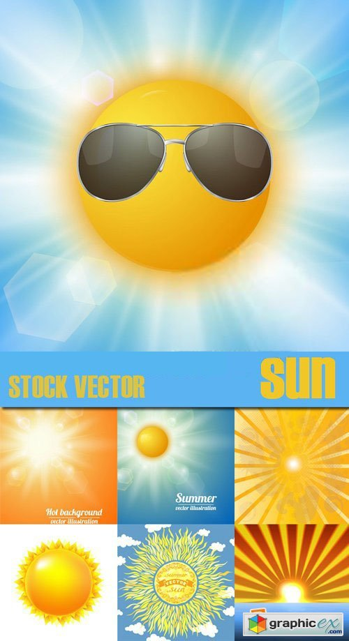 Stock Vectors - Sun, Summer, Rays., 25xEps