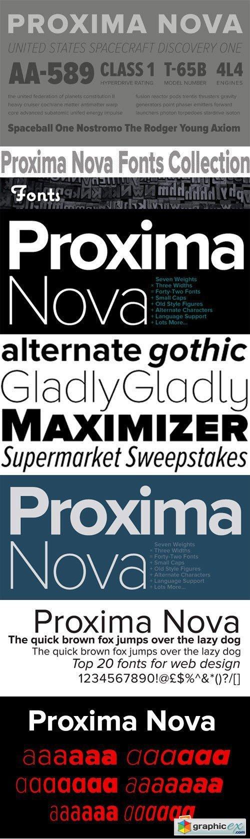 Proxima Nova Font Family - 126 Fonts for $644 » Free Download Vector