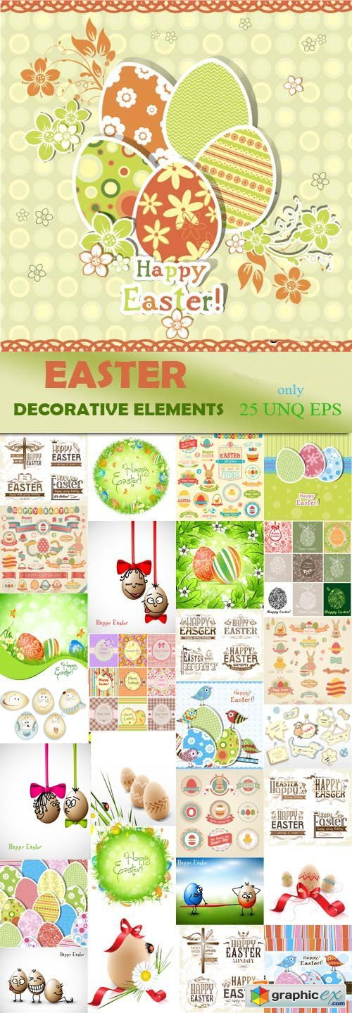 Easter decorative elements, 30xEPS