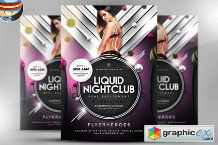 Creativemarket Liquid Nightclub Flyer Template 34568
