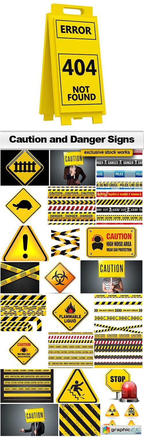 Caution and Danger Signs 18xEPS & 7xJPG