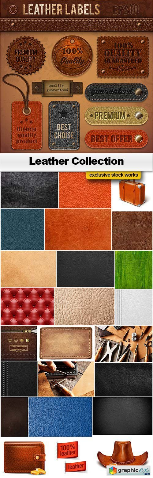 Leather Collection (Textures, Patterns and Elements) 17xJPG & 8XEPS