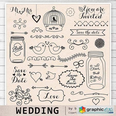 Creativemarket Hand draw Wedding clipart 27958
