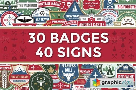 Creativemarket 30 Badges & 40 Signs 24842