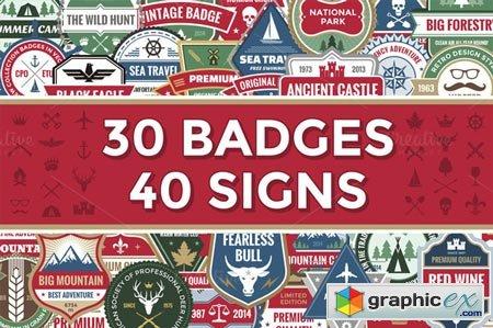 Creativemarket 30 Badges & 40 Signs 24842