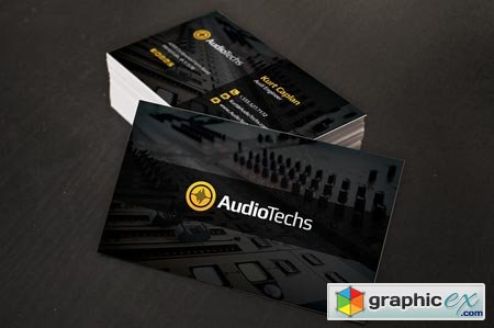 Creativemarket Audio Engineer Business Cards + Logo 7357