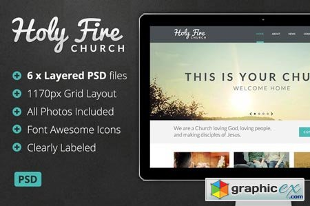Creativemarket Holy Fire - Church PSD 12066