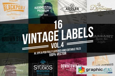 Creativemarket Vintage Labels & Badges Vol.4 27770