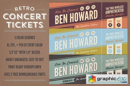 Creativemarket Retro Concert Tickets 21083