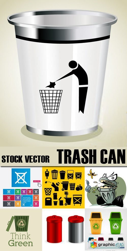 Stock Vectors - Trash Can, 25xEPS