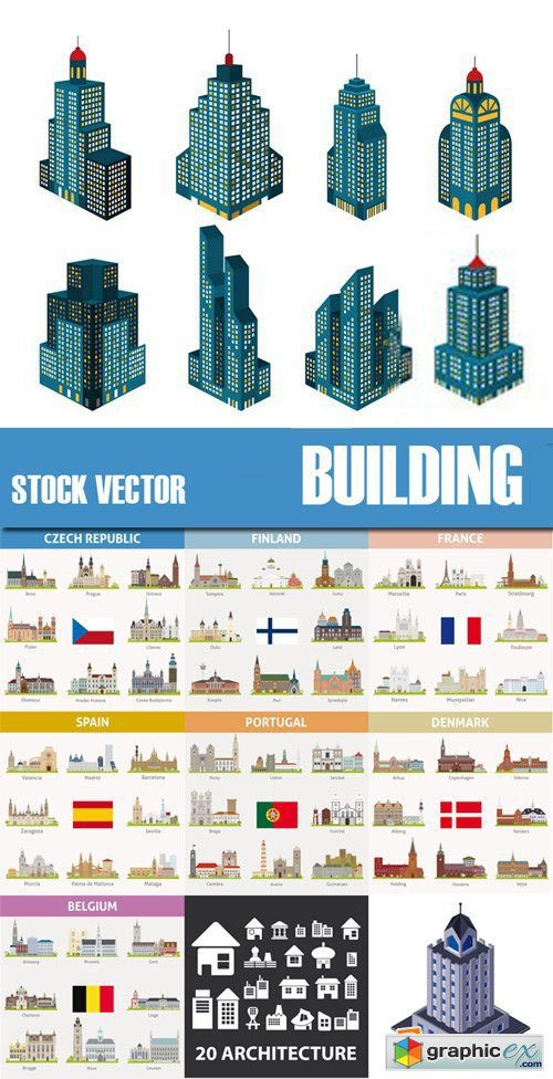 Stock Vectors - Building, 25xEps